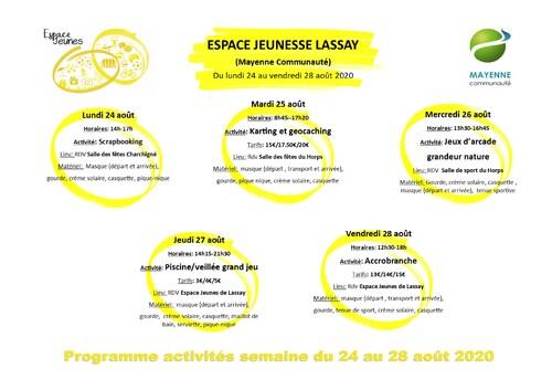 Programme du 24 au 28 aout 2020