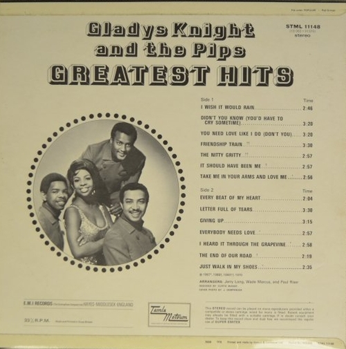 """Gladys Knight & The Pips : Album """" Greatest Hits """" Soul Records SS 723 [ US ]"""