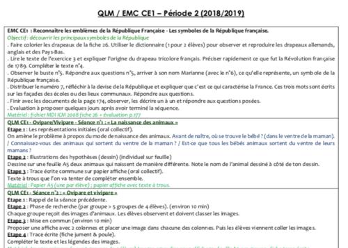 QLM/EMC CE1 Période 2 - 2018/2019