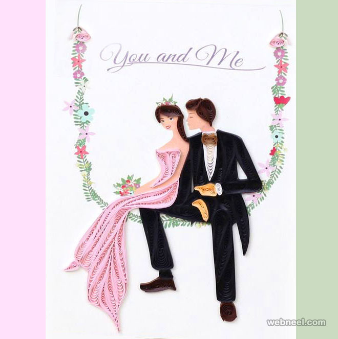 wdding card quilling art
