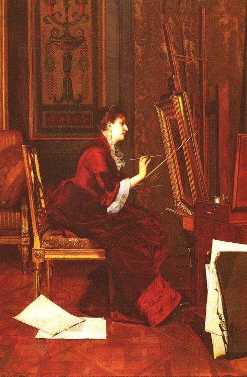 L'Artiste Dans L'Atelier. Jules Adolphe Goupil (French, 1839-1883). Oil on panel.