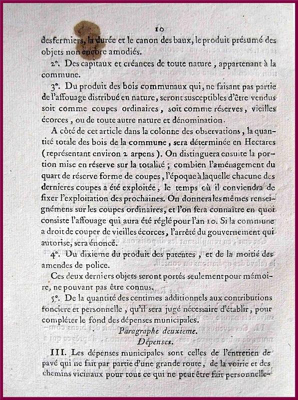 """""""Instructions données aux Conseillers municipaux  par le Préfet de la Côte d'Or """"....en 1801"""