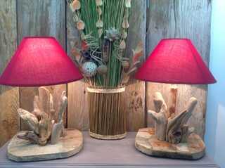 lampes de chevet en bois flotté