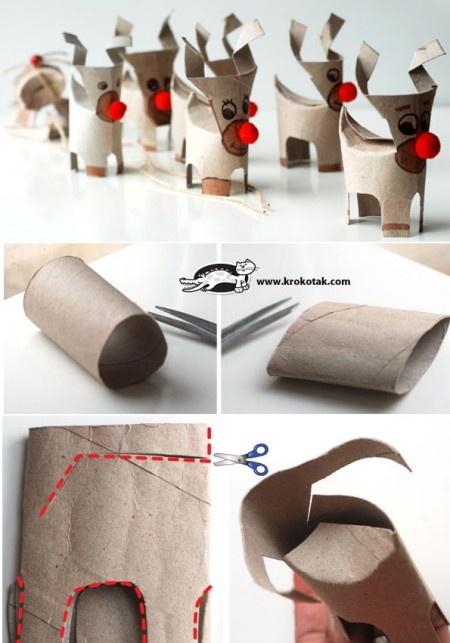 Reciclatge: rens fets amb tubs de cartró.