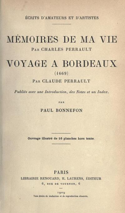Charles Perrault : Mémoires de ma vie