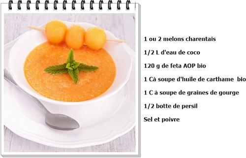 Soupe glacée de melon et feta