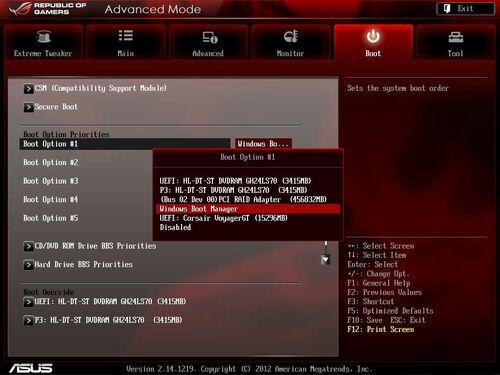 Boot (démarrer) sur une clé USB (bootable) ou un DVD (bootable) au lieu du disque dur, Régler l'ordre du boot du Legacy BIOS et UEFI
