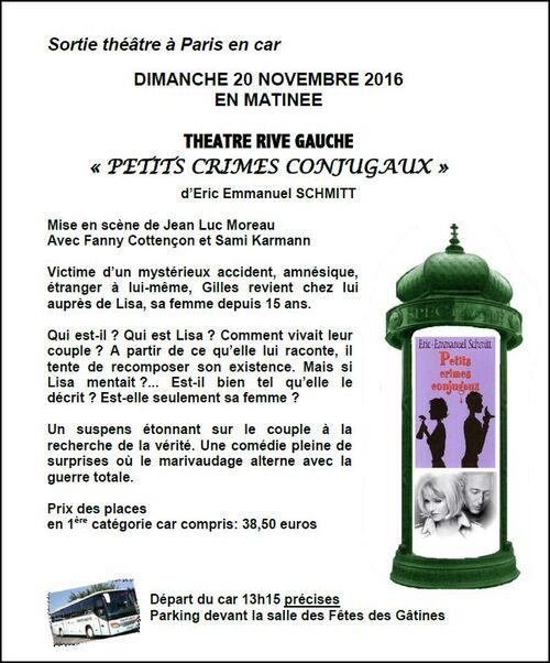 Sortie théâtre à Paris en car