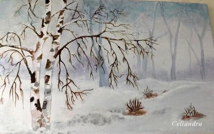 Peintures: Bouleaux sous la neige
