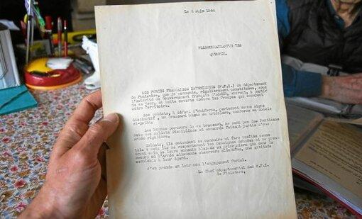 La lettre envoyée par les FFI au commandement allemand au lendemain du débarquement du 6 juin 1944