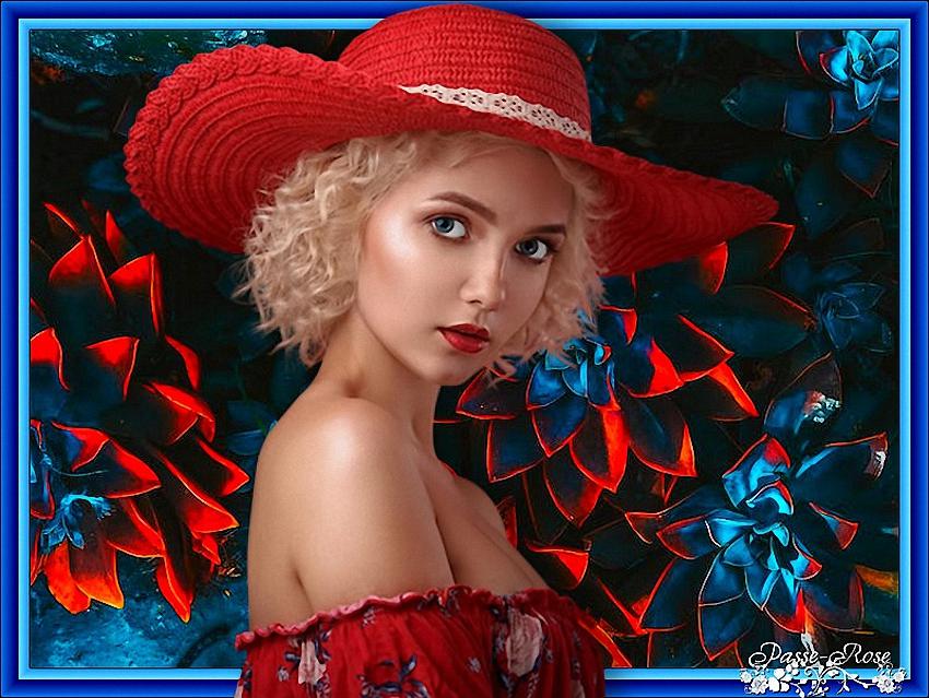 Passe-Rose pour avoir utilisé mon tube Femme à chapeau.