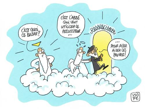 Caricatures Abbé Pierre au paradis