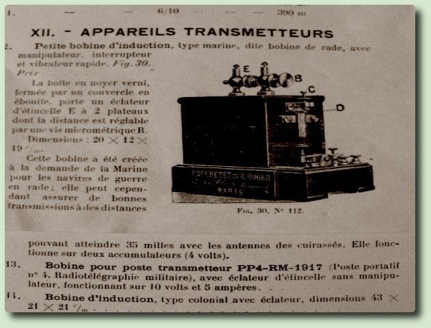 """Emetteur à étincelles Ducretet env 1920, dit """"émetteur de rade"""""""