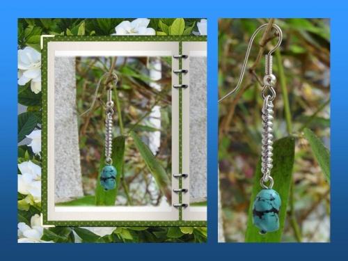 Boucle d'oreille ZEN réalisée par Sylvie LE BRIGANT en pierre de Turquoise d'Arizona