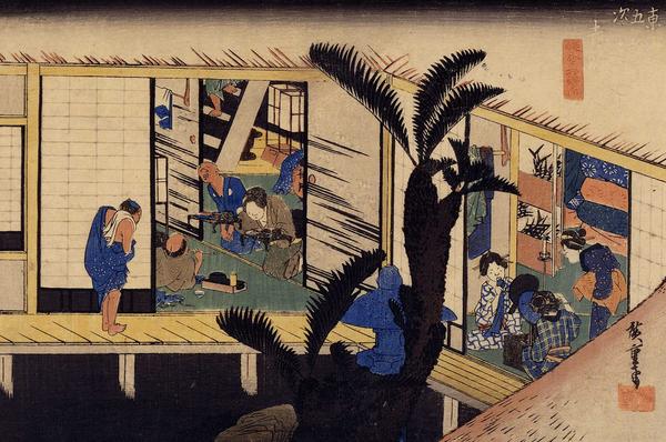 Avent 2014 - Jour 7 : Akasaka : les hôtesses de l'auberge, Hiroshige