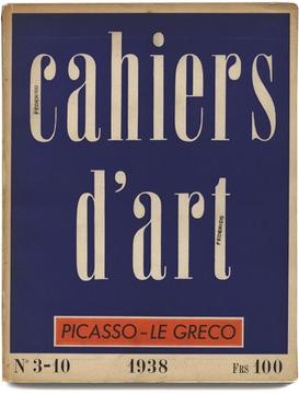 Cahiers d'Art, n ° 3 - 10 1938 Paris:. Christian Zervos. 120 pleine page plaques de Pablo Picasso.