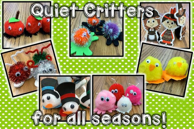"Quiet Critters - pom pom critters to put on desks when the students are working quietly - they ""run back home"" (to a basket) when the student gets noisy or when they are touched."