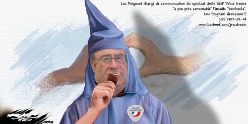 dessin de JERC mardi 14 février 2017 caricature Luc Poignant La police n'est pas raciste, elle a un ami bamboula et vote FN.  www.facebook.com/jercdessin en plus grand en cliquant sur l'image