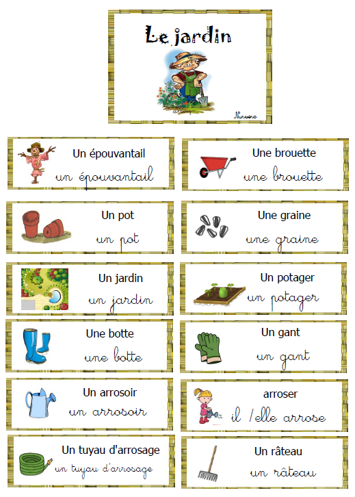 Le vocabulaire l 39 oral page 5 nurvero for Outils de jardinage en p