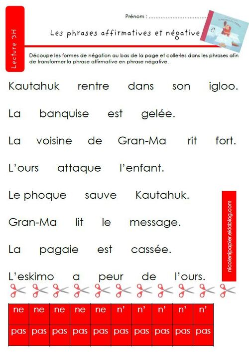Phrases affirmatives et négatives