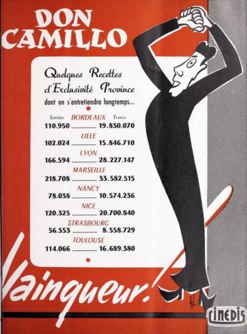 BOX OFFICE PARIS DU 19 DECEMBRE 1952 AU 25 DECEMBRE 1952