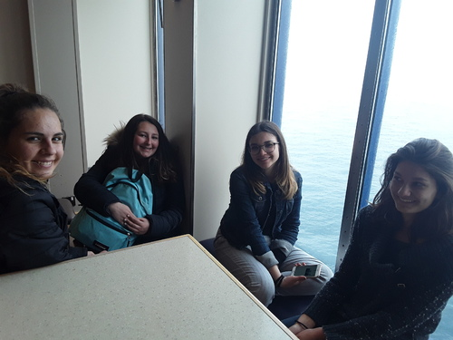 On the ferry...