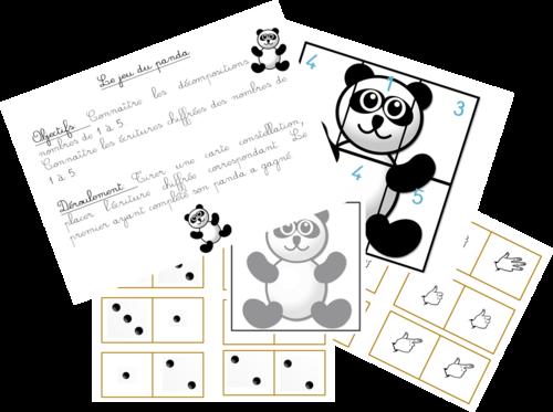 Le jeu du panda - Nombres de 1 à 5