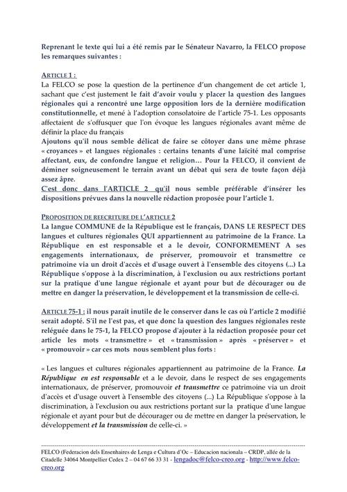 Lettre de la FELCO au Sénateur Navarro