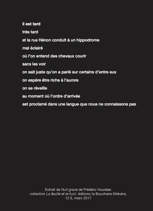 """Un extrait de """"Nuit grave"""" de Frédérick Houdaer"""
