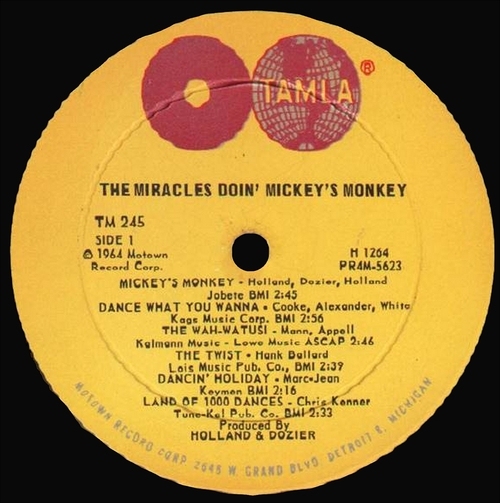 "The Miracles : Album "" The Miracles Doin' Mickey's Monkey "" Tamla Records TM 245 [ US ]"