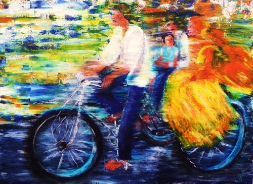 287. Tricycle à Bombay. Acrylique sur toile de 1m x 0,73. Août 2012