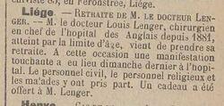 Louis Lenger (Le courrier du Limbourg, 7 février 1914)