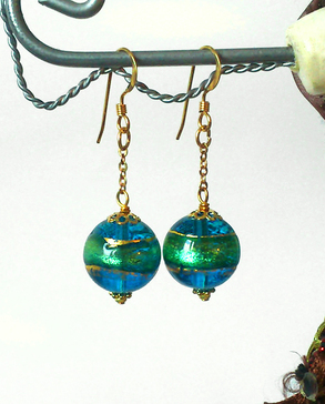 Boucles Verre de Murano authentique Turquoise Feuille d'Or  24 Kt / Plaqué Or 14 kt Gold Filled