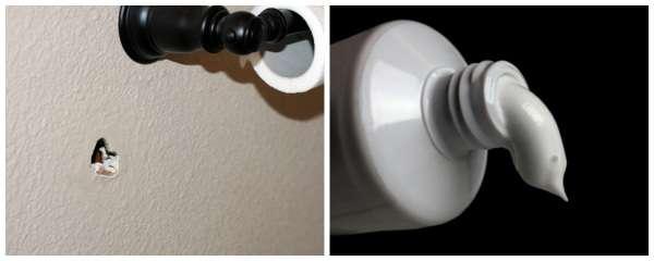 Bouchez un trou dans le mur avec du dentifrice blanc et de la craie