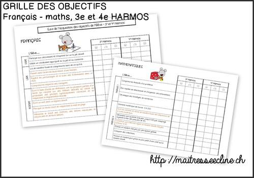 Grille des objectifs de 3e et 4e Harmos