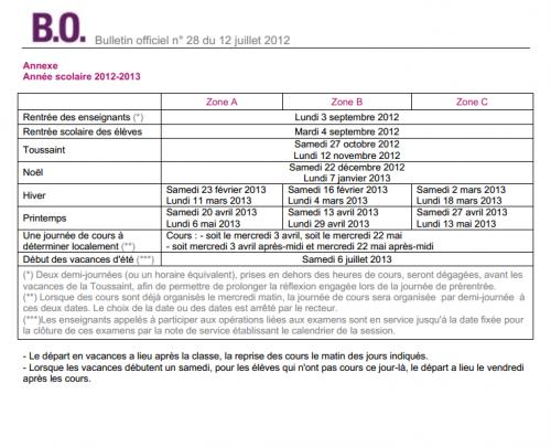 direction : nouveau calendrier rentrée 2012