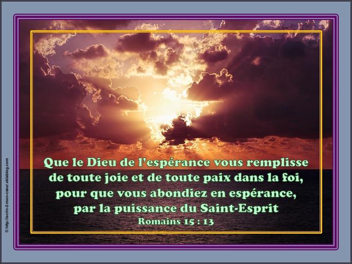 Que le Dieu de l'espérance vous remplisse de toute joie et de toute paix dans la foi - Romains 15 : 13