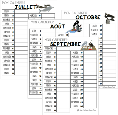 Calendriers individuels le Loup 2019 / 2020