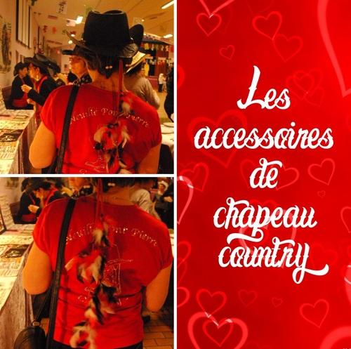 accessoire de chapeau country en plumes rouges, noires et blanches sur une lanière de cuir rouge