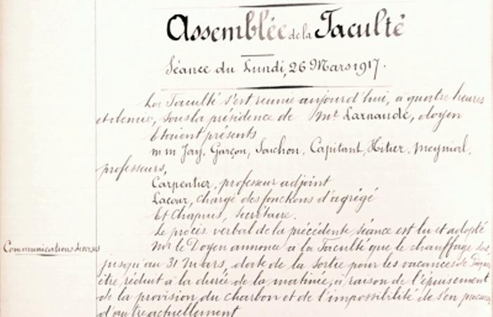 Assemblée de la Faculté de Droit du 26 mars 1917 : économies de chauffage.