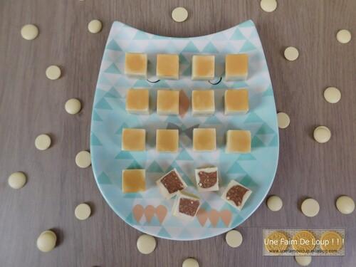 Cubes chocolat blanc / praliné feuilleté
