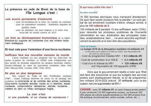 Lutte contre le choix de la poursuite et de l'intensification de l'armement nucléaire par l'Etat français: la mobilisation continue dans le Finistère, avec une journée importante le 8 août à Crozon, et un colloque à Brest le 29 septembre  (collectif pour l'interdiction des armes nucléaires Finistère)