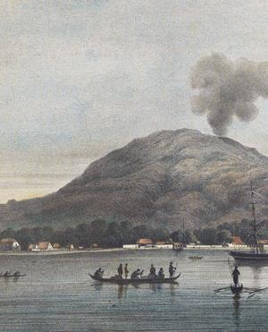 Le port de Ternate (Moluques) et son volcan, au début du XIXe siècle