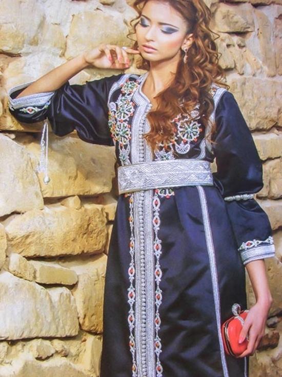 Caftan-marocain-2015-bleu-marine-pas cher pour une cérémonie marocaine inoubliable -KAF-S895