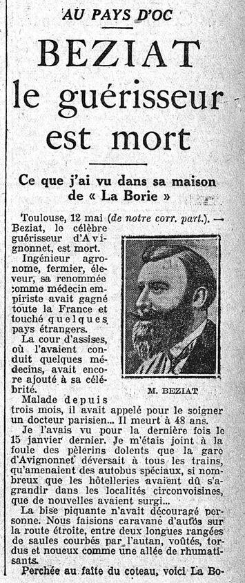 Béziat, le guérisseur est mort #1 (L'Intransigeant, 13 mai 1926)