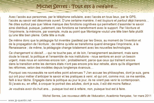 Citation de Michel Serres
