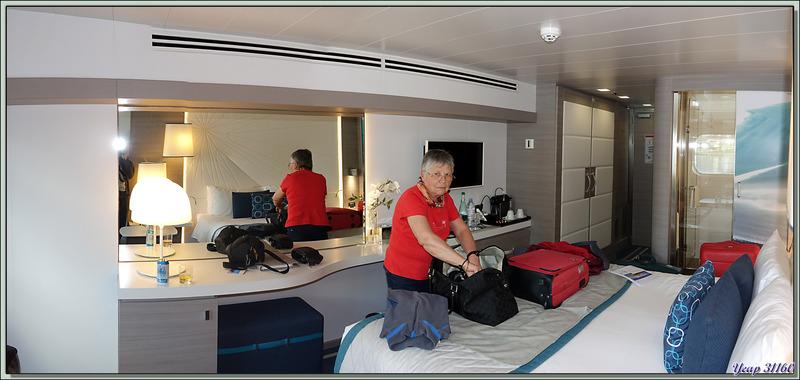 Nous prenons possession de notre cabine, avec, pour le moment, point de vue sur le port et sur le Mont Olivia - Ushuaïa - Terre de Feu - Argentine