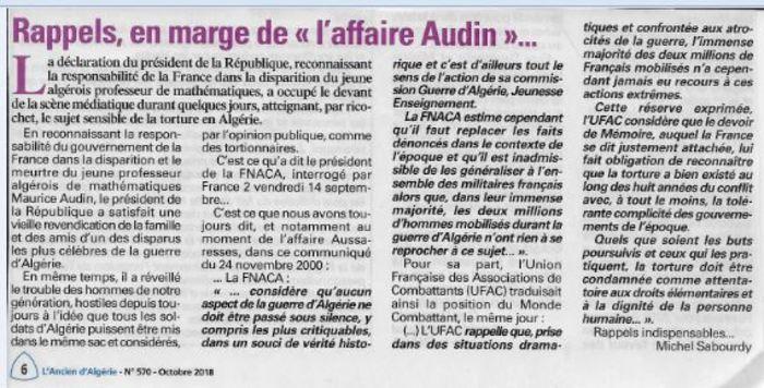 Suite de ma lettre ouverte à Michel Sabourdy  Rédacteur en chef de l'Ancien d'Algérie
