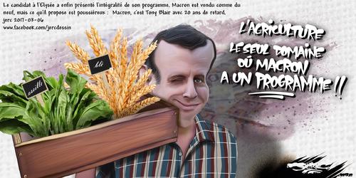 dessin de JERC lundi 06 mars 2017 caricature Emmanuel Macron Le programme de Macron est proche du monde rural www.facebook.com/jercdessin