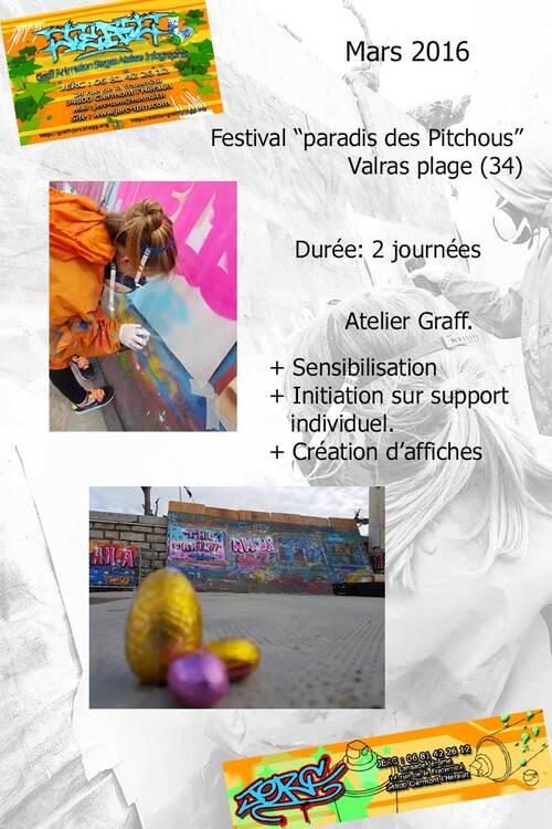 """Atelier initiation au graff, par petits groupes sur affiches, lors du festival """"paradis des pitchous"""" Valras (34) 03/2016 Merci aux animatrice du club Ado !!! Les photos http://atelier-graff.blogg.org"""